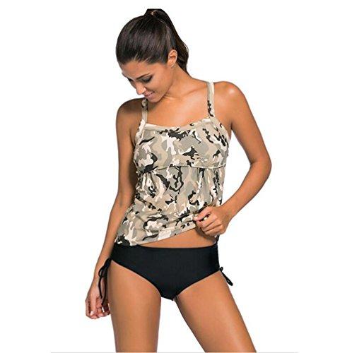 Erica Bikinis de rayas de playa de talla grande de las mujeres de dos piezas Set traje de baño de impresión de camuflaje sujetador acolchado inalámbrico #2