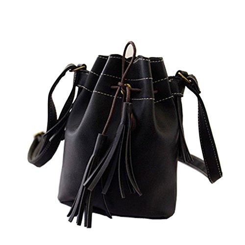 Caszel Womens Hippie Suede Retro Vintage Simplicity Fringe Tassel PU Leather Mini Shoulder Bag Messenger Crossbody Handbag