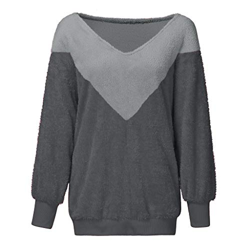 DAGE 2019 New Women's Warm Fluffy Winter Top Lady Plus Size Sweatshirt Ladies V Neck Pullover Jumper Gray
