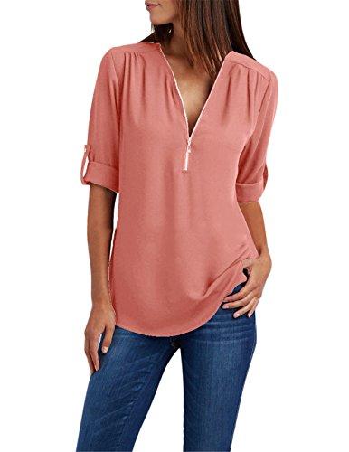 NMY Donna Camicetta sottile Scollo V Manica Lunga Puro Colore Con cerniera Casual shirt Tops