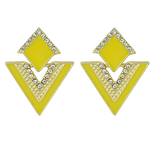 KEBINAI Hot Sale Brincos Colorful Enamel Rhinestone Party Earring Geometric Drop Triangle Earrings for Women Fashion Accessories Jewelry,Yellow - David Yurman Yellow Earrings