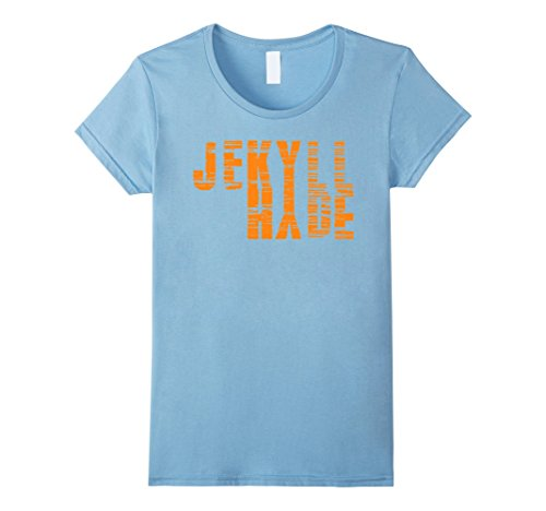 Womens Dr. Jekyll Mr. Hyde Cool Graphic Text Design Tshirt Large Baby Blue