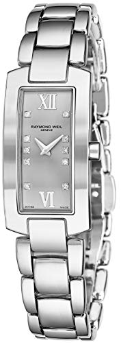 Raymond Weil Shine Womens Rectangular Diamond Watch - Swiss Made Silver Face with Sapphire Crystal - Stainless Steel Band with Additional Black Satin Leather Band Rectangle Quartz Watch 1500-ST-00685 (Raymond Weil Diamond Bracelet)