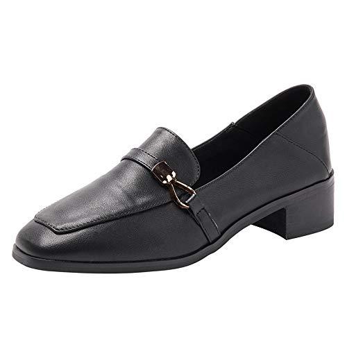 Mocassins Boucle Tête Épaisse Des Simples Carrée Pois Portant Noir De Printemps Ceinture Deux Avec Féminins Chaussures Modèles Sauvage tdQshr