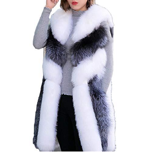 Women Long Artifical Fox Fur Vest Women Winter Fashion Faux Fur Vest Jacket Woman Thick Warm Fur Vest Coat (S, White)