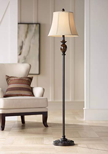 (Corrie Club Traditional Floor Lamp Deep Bronze Tortoise Shell Font Tan Fabric Bell Shade for Living Room Reading Bedroom Office - Regency Hill)