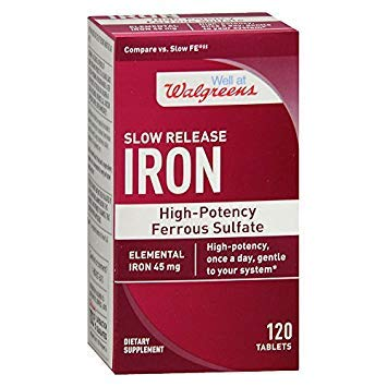 (Walgreens Iron Slow Release High Potency Ferrous Sulfate 45mg, Tablets, 120 ea)