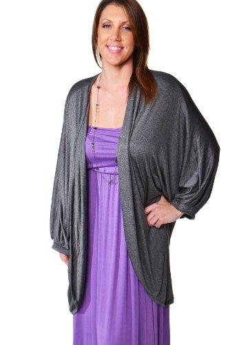 24/7 Comfort Apparel Women's Plus Size Dolman Sleeve Shrug CF317P-CHARCOAL-2XL
