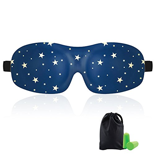 Sleep Mask for Woman & Man KAMOSSA Star Cute Contoured 3D Eye Mask Eye Cover for Sleeping, Total Darkness Sleeping Mask Free Earplugs & Carry Bag