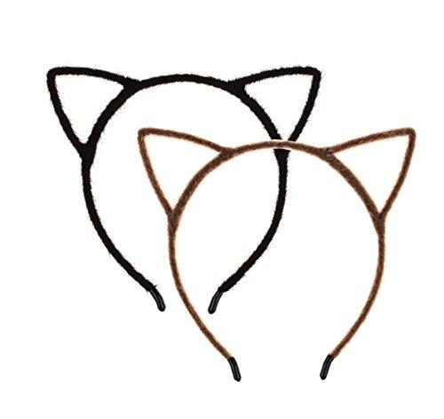 Love Sweety Plush Cat Ear Headband Cute Halloween Costume Holiday Party (Black Brown)