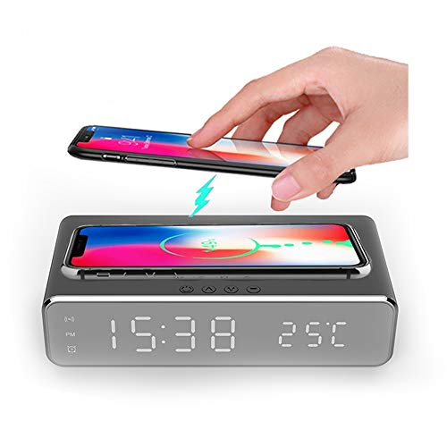 Hopkog LED Smart Alarm Clock Time Temperature Display Wireless Charging Pad Dock, Qi-Certified for iPhone 11, 11 Pro Max, XR, Xs Max, XS, X, 8, 8 Plus, 10W Charging Galaxy S10 S9 S8, Note 10 Note 9