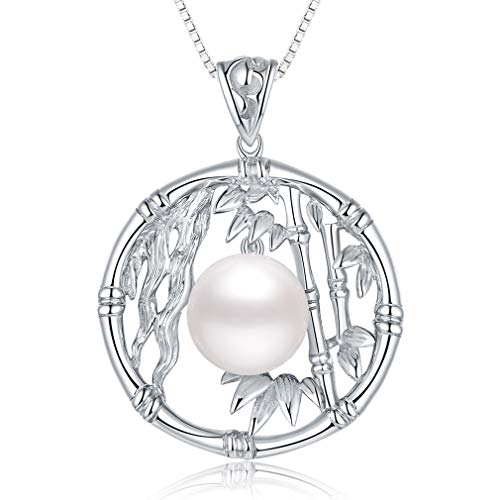 Fine Jewelry Women Gifts for Women 925 Sterling Silver and Pearl Pendant Necklace Bamboo Shape