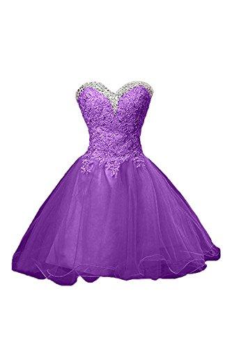 Mini Abendkleider Tanzenkleider La Spitze Damen Elfenbein Cocktailkleider mia Braut Violett Promkleider rXX1qwx8Zn