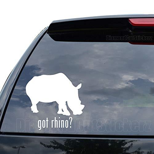 DiamondCutStickerz GOT Rhino Safari Decal Sticker Car Truck Motorcycle Window Ipad Laptop Wall Decor - Size (05 inch / 13 cm Wide) - Color (Matte White)
