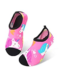 JIASUQI Kids Boys Girls Summer Athletic Water Shoes Barefoot Aqua Socks for Beach Swimming Pool