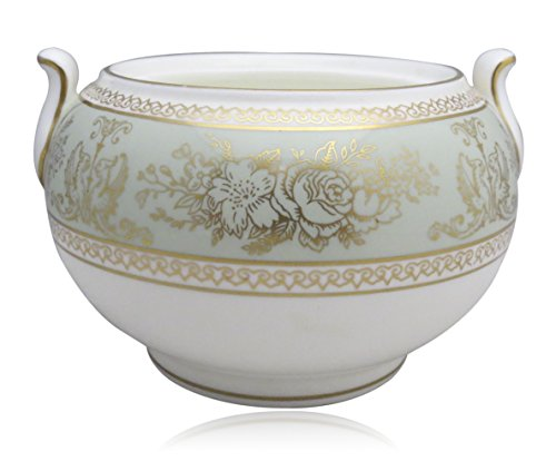 Wedgwood Columbia-Sage Green Rim 146 Shape Sugar Bowl (No Lid) (Columbia Sage Green Wedgwood)