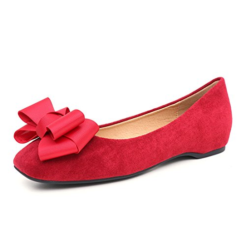 Womens Classic Casual Loafers - Driving Moccasins Soft Slip On Shoes 536-6 Red 3fVtAVMP