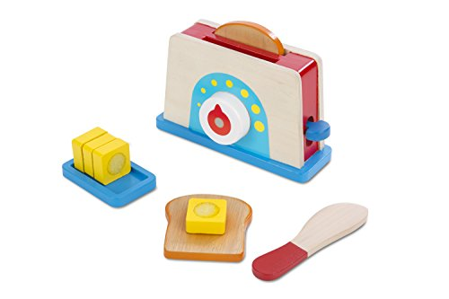 Melissa & Doug Bread and Butter Toaster Set (9 pcs) - Wooden Play Food and Kitchen Accessories from Melissa & Doug