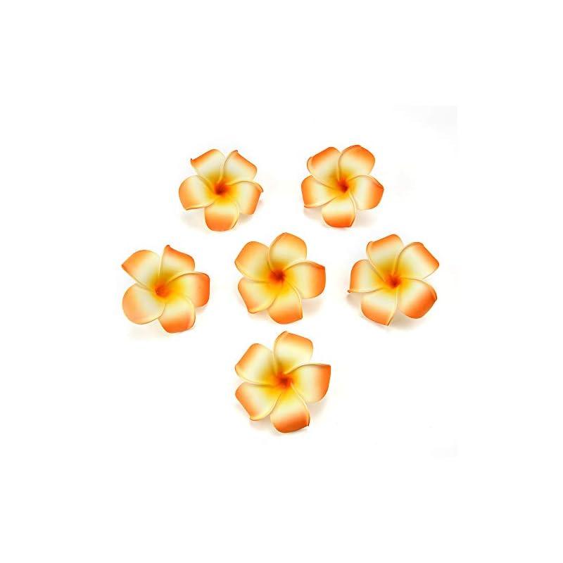 silk flower arrangements fake flowers heads plumeria hair clip hawaiian pe foam frangipani artificial flower for wedding party decoration fake egg flower bouquets 20pcs 7cm (orange)