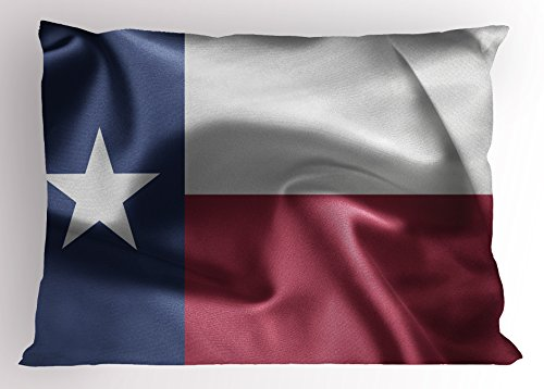 Western Pillow Sham by Ambesonne, State of Texas Flag with Star Freedom Symbol Wind Blow Effect Print, Decorative Standard King Size Printed Pillowcase, 36 X 20 Inches, Maroon Dark Blue (Texas Sham)