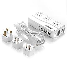 BESTEK International Travel Voltage Converter 220V to 110V Converter with 6A 4 USB Ports and UK/AU/US/EU Travel Adapter