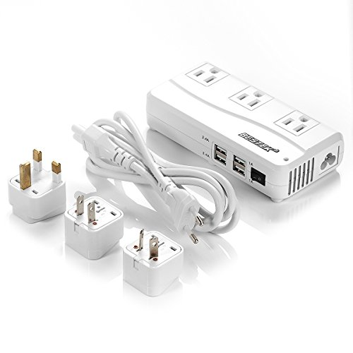 BESTEK Portable 6A Max Travel Adapter & Power Converter Voltage 220V to 110V with Interchangeable UKUSAUEU Plugs