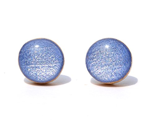 Periwinkle shimmer stud earrings. Simple hypoallergenic wood studs titanium posts by Starlight Woods (Shimmer Starlight)