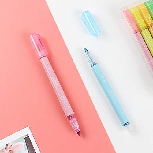 Yhtumn Textmarker 8 Farben Style :1 pcs f/ür Karten Doppelstrichstift blau Schreiben und Zeichnen