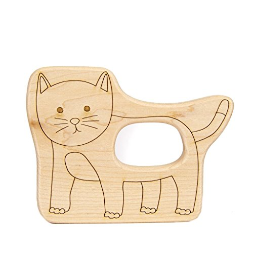 Cat Organic Toy (Little Sapling Toys Baby Teether Wooden Kitty Cat)