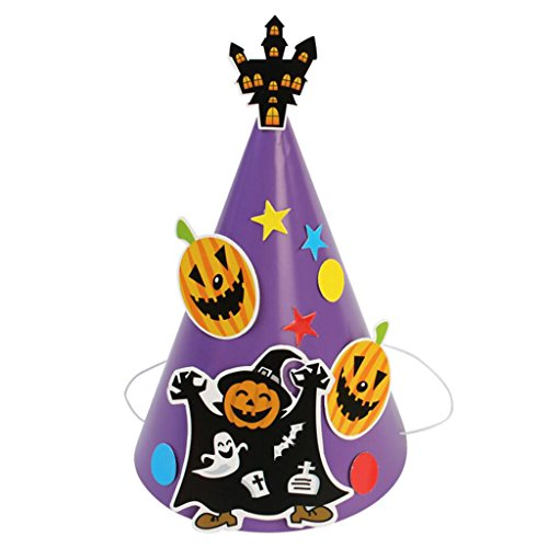 Blesiya Cute Halloween Handwork Paperboard Pumpkin Tricky Hat Toy Kids DIY Craft Birthday Cosplay Makeup Costume Accessory - Ghost -