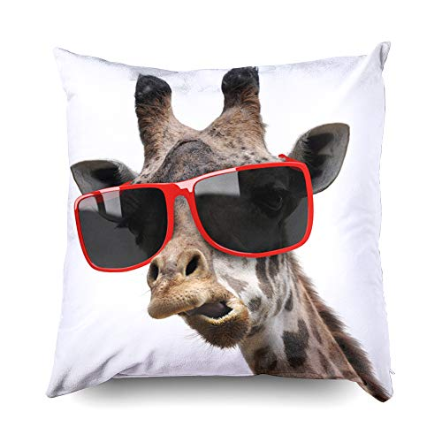 Shorping Zippered Pillow Covers Pillowcases 20X20 Inch Funny Vogue Fashion Portrait Giraffe Modern Hipster Decorative Throw Pillow Cover,Pillow Cases Cushion Cover for Home Sofa Bedding -