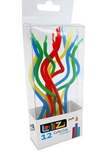 LolliZ cumpleaños velas Curly-cue bobinas. Pack de 12. Fun Primaria colores: amarillo, rojo, azul, verde