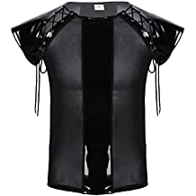 iiniim Men's Mesh Fishnet See Through Tops Wet Look PVC Leather Lace-up Sleeve Clubwear T-Shirt