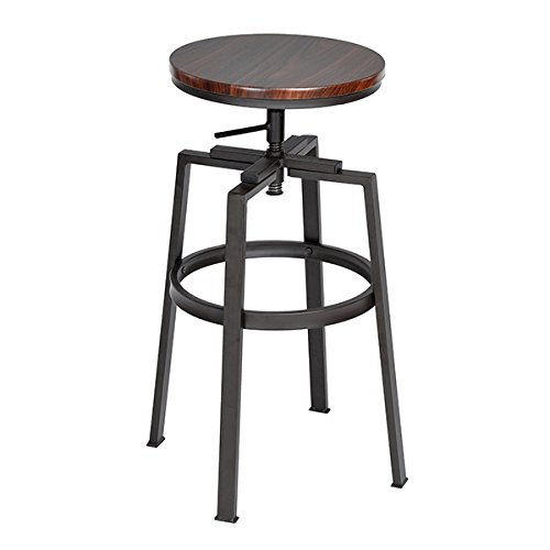 SET of 2 - Black and Walnut Finish Industrial Style Adjustable Metal Swivel Counter Height Bar Stools