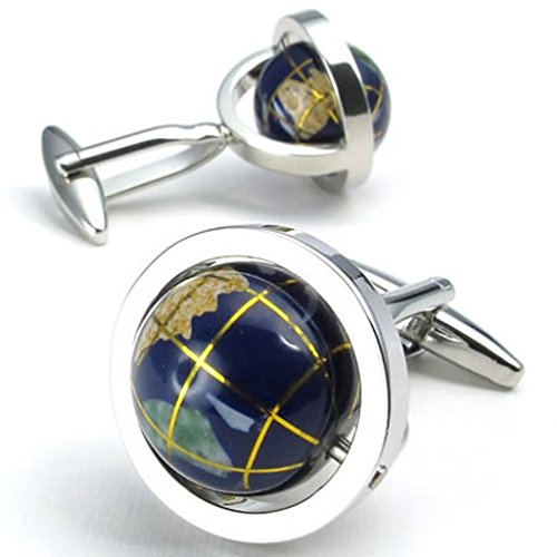 Beydodo Stainless Steel(Cuff-Links) for Men Globe Tellurion Blue Wedding Shirt Accessory (with Gift Box)