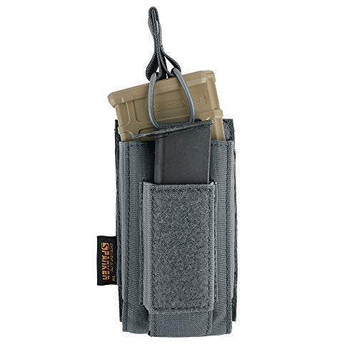 (EXCELLENT ELITE SPANKER Open-Top Single/Double/Triple Mag Pouch for M4 M16 AK AR Magazines and Pistol Mag Pouch(Grey))