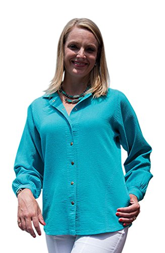 Ezze Wear Women's Cord Cotton Long Sleeve Snap Shirt L XL 1X 2X (2X, Teal)