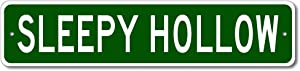 Sleepy Hollow, New York - USA City Sign - Pesonalized Home Decor, Metal Novelty Sign, Man Cave Street Sign, Unique Gift Idea, Pub Bar Wall Decor, Made in USA - 4x18 inches