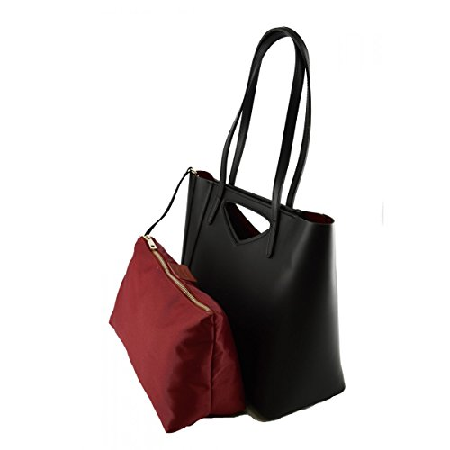 Borsa Shopper Donna In Vera Pelle Colore Nero - Pelletteria Toscana Made In Italy - Borsa Donna