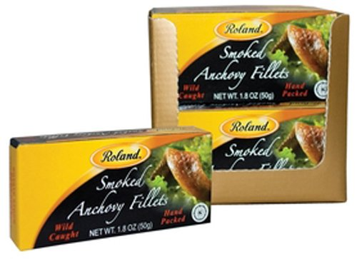 Roland Smoked Anchovy Fillets, 1.8-Ounce Cans (Pack of 8)