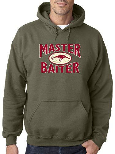 (Trendy USA 053 - Adult Hoodie Master Baiter Fishing Hobby Funny Humor Unisex Pullover Sweatshirt 4XL Military Green)