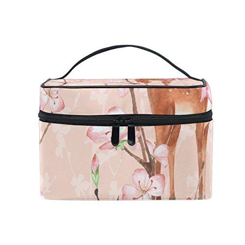 Elk Blossom - Cosmetic Bag Makeup toiletry Bag Peach Blossom Elk Travel Case Organizer for Women