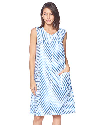 - Casual Nights Women's Zipper Front House Dress Duster Sleeveless Housecoat Lounger Robe, Polka Dots Blue, Small
