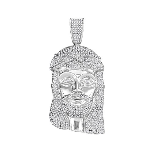 Roy Rose Jewelry 10K White Gold Mens Round Diamond Jesus Christ Messiah Head Charm Pendant 3-Carat ()