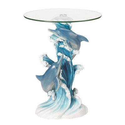 Zingz & Thingz 38425 Wave Dancers Dolphin End Table Playful Accent