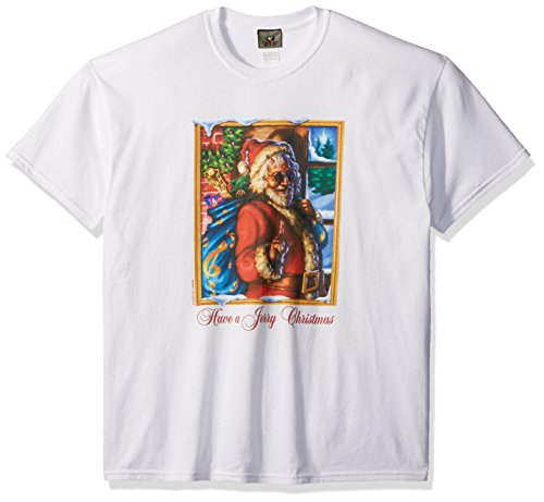 Liquid Blue Men's Big and Tall Grateful Dead Have A Jerry Christmas Short Sleeve T-Shirt, White 6XL