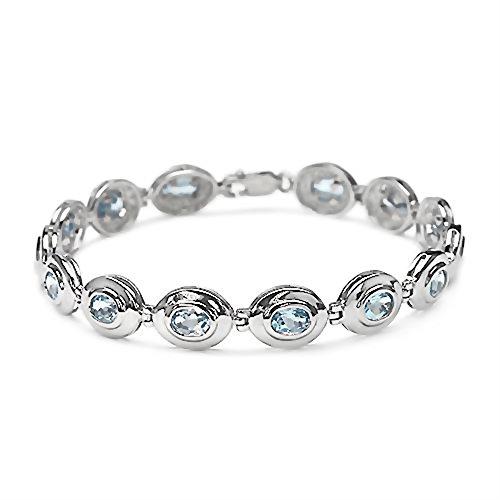 9.10 Carats topaze bleue pierres précieuses en 13.22 grammes Bracelet en argent sterling pour les femmes - Cadeau spécial pour l'anniversaire, anniversaire