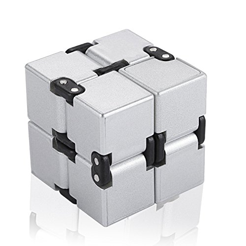 - Infinity Cube Fidget Toy, Single Finger Endless Fun Decompression Stress Relief Fidget Anti Anxiety Toys for Kids and Adults-ABS Electroplate Metal(Silver)