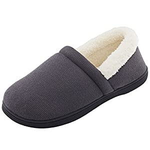 Men's Comfy Fuzzy Knit Cotton Memory Foam House Shoes Slippers w/Indoor, Outdoor Sole