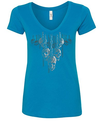 Skulls Hanging on Chains Women's V-Neck T-Shirt Death Creepy Scary Hell Devil Turquoise XL -